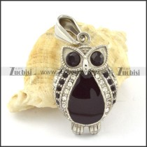 Stainless Steel Owl Pendant with Black Eyes -p000653
