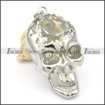 Stainless Steel Big Skull Pendants w Big Clear Stone-p000338