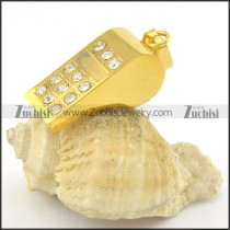whistle pendant with clear stone in yellow gold plating p001383