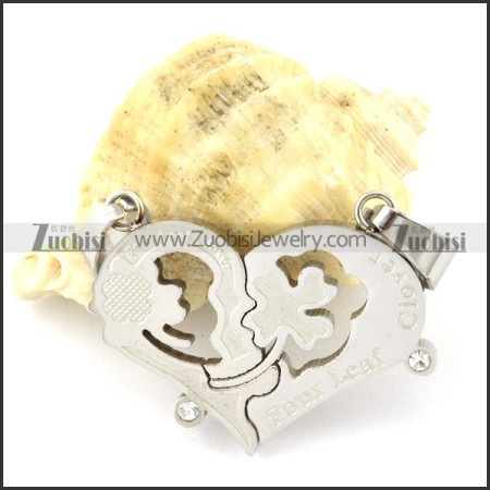 pretty 316L Heart Couples Pendants -p000954