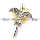 big stainless steel wing pendant p001566
