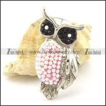 Black Rhinestones Eyes Owl Pendant in Stainless Steel -p001163