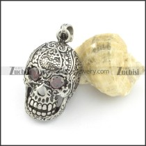 beautiful flower skull pendant with red eye stone p001517