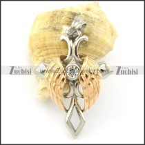 2 tones angel wing cross pendant p001369