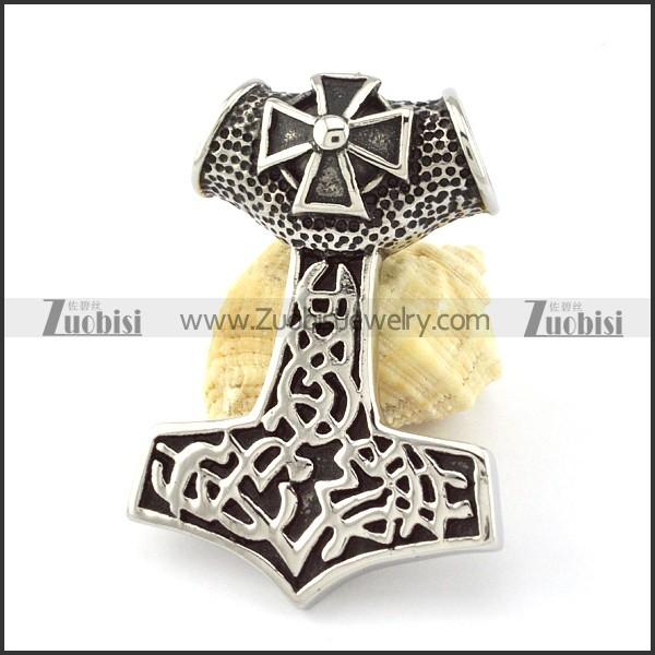 Stainless Steel Cross Hammer of Thor Pendant -p000854