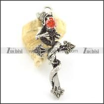 clear ruby zircon snake cross pendants p001499