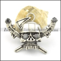 black solid zircon eye skull pendant with two-gun p001519