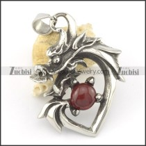 dragon pendant with dark red glass ball p001582
