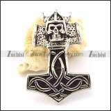 Skull Hammer of Thor Pendant for Punk Fans -p000904