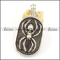 big spider dog tag pendant with skull head p001558