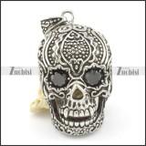 5.3cm big flower skull pendant with 2 black crystals p001596