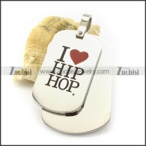 hot welcome personalized dog tags with I LOVE HIP HOP -p001223