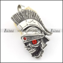 Skull Pendant with 2 Red Rhinestones p001589