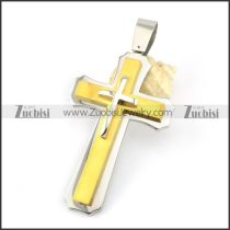 Gold Big Stainless Steel Cross Pendant -p000898