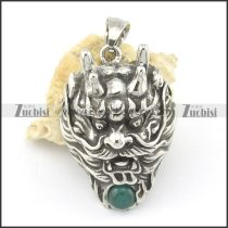 41mm big stainless steel dragon pendant with green ball p001583