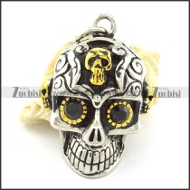 3D casting skull pendant with small gold skull p001366