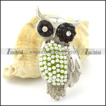 Stainless Owl Pendant with Green Background Body -p001161
