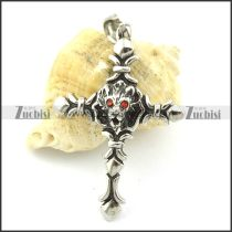 casting red eye wolf cross pendant p001360