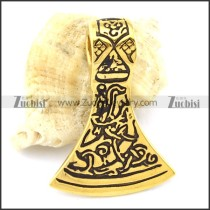 Gold 316L Stainless Steel Ax Pendant -p001092