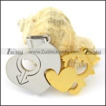 functional Steel Heart Couples Pendants -p000948