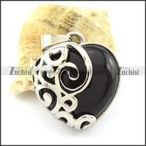 Black Stone Heart Pendant -p001106