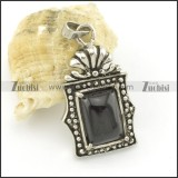 black stone pendant in stainless stee metal p001472