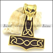 Black Gold Steel Sheep Head Hammer Pendant -p001095