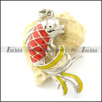 Stainless Steel Carp Pendants in Red Epoxy -p001174