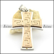rose gold cross pendant with great wall pattern p001381
