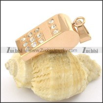 rose gold whistle pendant with 12 clear rhinestones p001384
