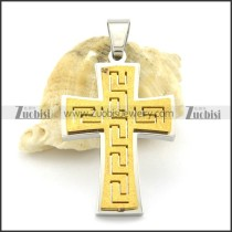 small yellow gold cross pendant with great wattern grain p001377