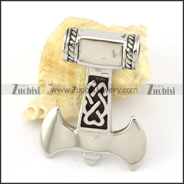 Shiny Stainless Steel Hammer of Thor Pendant -p000853