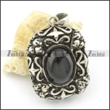 black stone pendant in stainless stee metal p001473