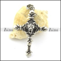 clear eye stone cross pendant with wolf head p001358