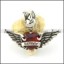 red heart stone wing pendant for love p001350