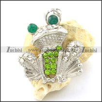 Frog Pendant with Green Rhinestones -p001175