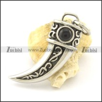 solid black stone wolf's fang pendant p001354