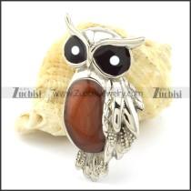 Big Eye Owl Pendant with Brown Epoxy -p001165