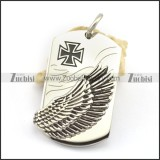 right side flying wing tag pendant with iron cross logo p001767