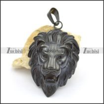 dark black casting lion pendant p001719