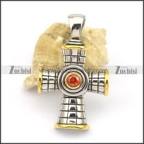 normal cross pendant with red zircon p001716