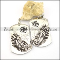 pair of wing tag pendant with cross logo p001768