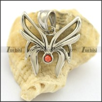 small cute butterfly pendant with red rhinestone p002091