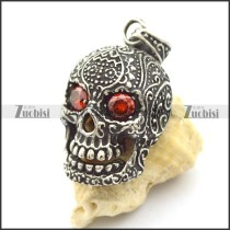 two ruby crystal eyes flower skull pendant p002080