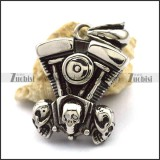 Three Skulls Motorcycle Engine Pendant for Bikers p002541