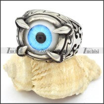 Stainless Steel Light Blue Eye Ring - r000323