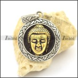 Gold Plating Bodhisattva in the Middle of Round Tag Pendant p002529