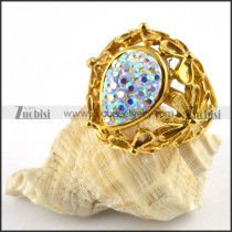 Yellow Gold Stainless Steel Ring with Multi Rhinestones - r000182
