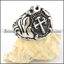 Stainless Steel Crown Cross Ring for Prince - r000312