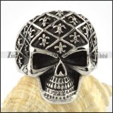 Stainless Steel Cross Skull Ring - r000075